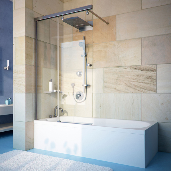 Душевая дверь в нишу GuteWetter Slide Door GK-864 120 см стекло бесцветное, профиль хром ванная мебель киев